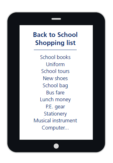 School shopping list
